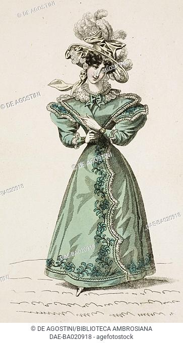 Woman wearing a green walking dress decorated with floral motifs and white hat adorned with ribbons and feathers, plate 62, French Fashions