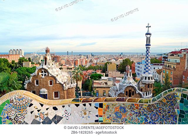 View of one of the pavilions of the entrance to Parc Guell Barcelona
