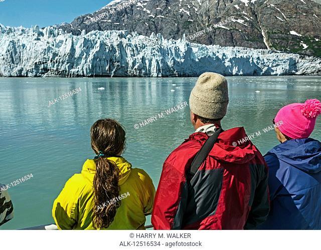 Tourists on board the Baranof Wind sightseeing at Margerie Glacier, Tarr Inlet, Glacier Bay National Park and Preserve, Southeast Alaska; Alaska