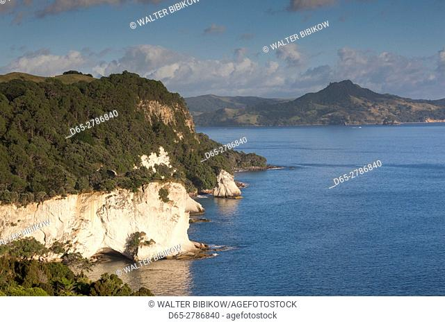 New Zealand, North Island, Coromandel Peninsula, Hahei, elevated view towards Cathedral Cove, morning