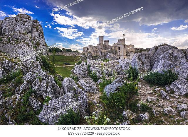 Famous Ogrodzieniec Castle ruins in Podzamcze village, part of the Eagles Nests castle system in Silesian Voivodeship of southern Poland