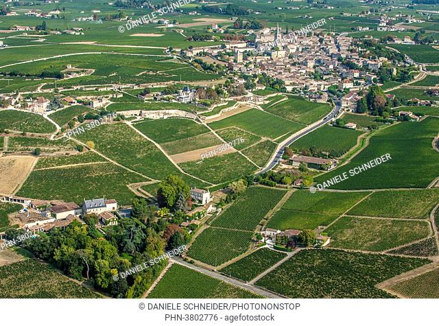 France, Gironde, aerial view of Saint-Emilion and Chateau La Gaffeliere (UNESCO World Heritage)