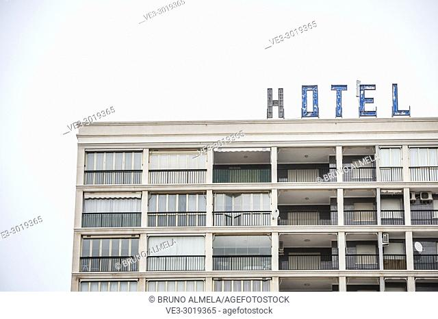 Closed hotel in Orpesa (province of Castellón, region of Comunidad Valenciana). Spain