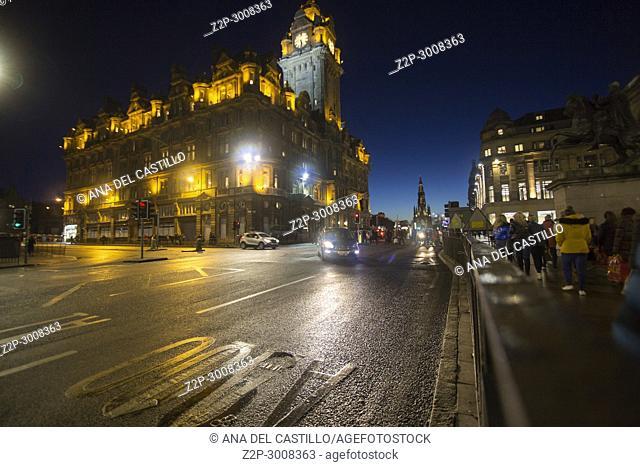 The Balmoral Hotel, a historic building in Edinburgh. Nightscape Scotland, UK