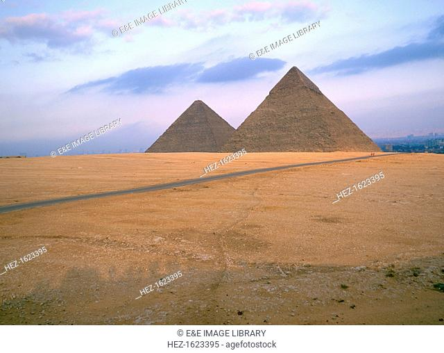 The Great Pyramids of Cheops and Chephren, Giza, Egypt. The Pyramid of Cheops is the only surviving one of the Seven Wonders of the Ancient World
