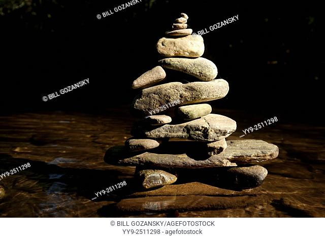 River Rock Cairns - Davidson River, Pisgah National Forest - Brevard, North Carolina USA