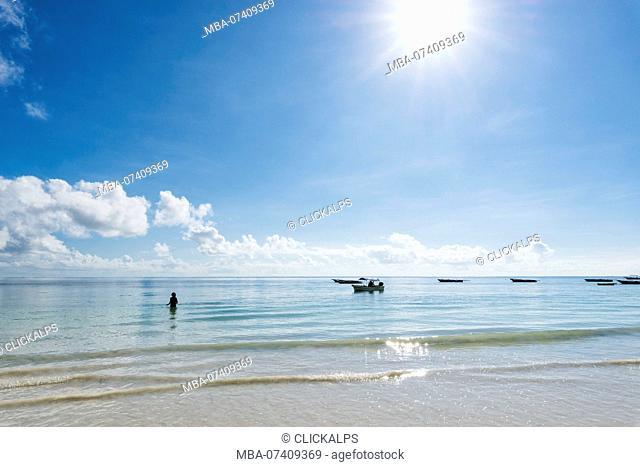 East Africa, Tanzania, Zanzibar, Kiwengwa beach on a summer day