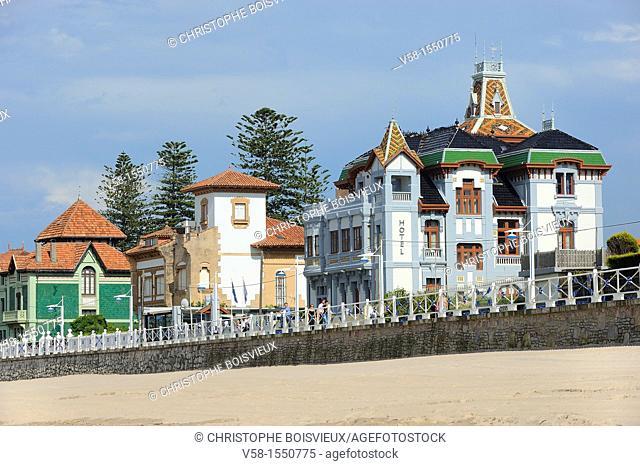 Spain, Asturias, Ribadesella, 'Casas de Indianos', originally built in the early 20th century by rich Asturians having emigrated to Cuba