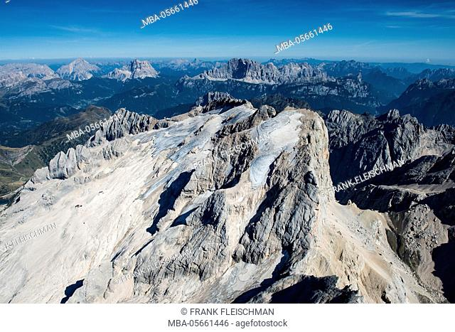 Marmolada, the Dolomites, wall bars, Marmoladagletscher, aerial picture, high mountains, Trentino, Italy