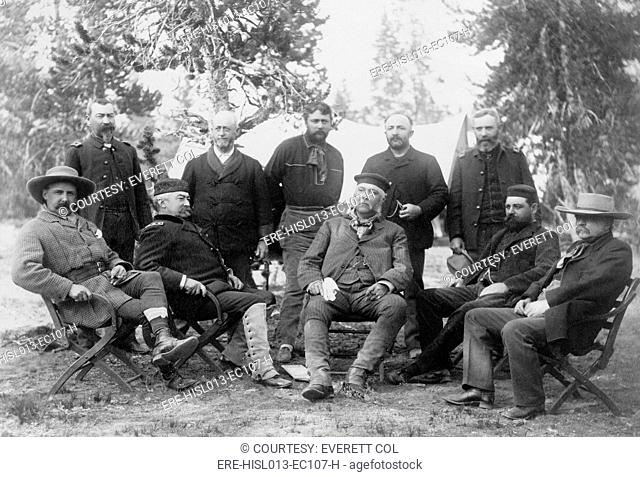 President Chester A. Arthur's front-center expedition to Yellowstone National Park. Among his companions were Civil War hero General Philip H