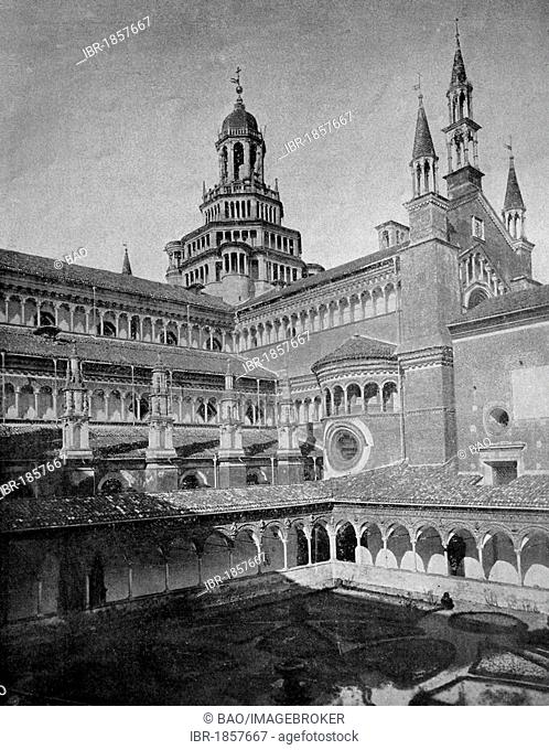 Early autotype the Certosa di Pavia Gra-Car monastery, Pavia, Italy, historical picture, 1884