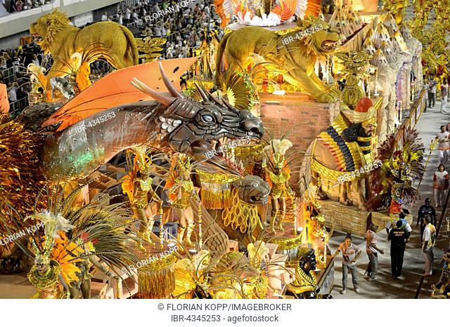 Allegories float with wild mythical creatures, dragons and lions, parade of the samba school Estacio de Sá, Carnival 2016 in the Sambadrome, Rio de Janeiro