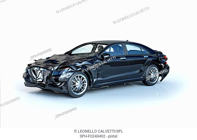 Single car accident. Black luxury sedan damaged on the front and on the back parts. Isolated on white background. Perspective view