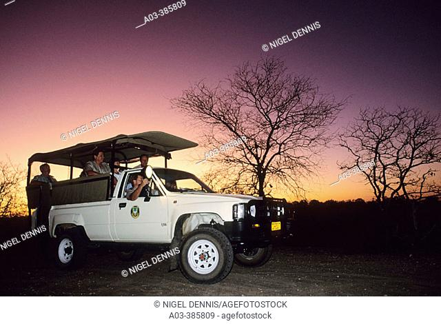 Kruger National Park Scene. Tourists on a night drive, Kruger National Park. South Africa