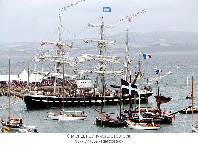 French three masted yacht BELEM entering in the harbor of Douarnenez, Bretagne, France