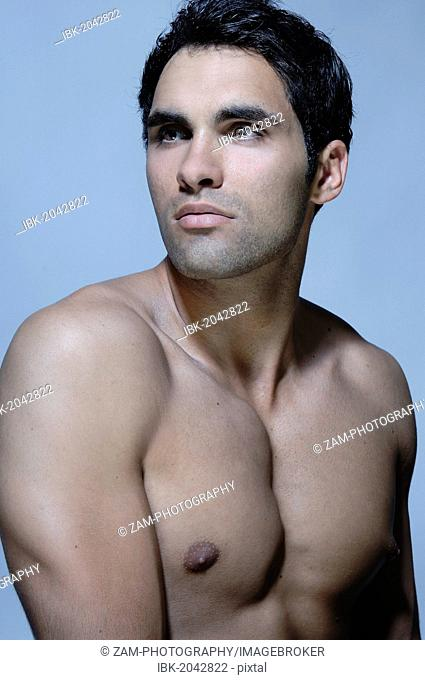 21-year-old man, bare-chested, beauty portrait