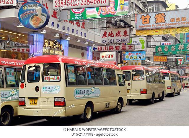 Hong Kong, China, Asia. Hong Kong Kowloon. Public transport by bus through Kowloon shopping area