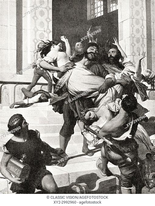 Istrian pirates carrying off Venetian brides, c. 800AD. From Hutchinson's History of the Nations, published 1915