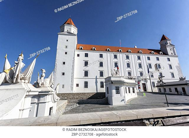 Skyline Bratislava Castle, situated on a plateau 85 metres (279 ft) above the Danube river, Slovakia, Europe