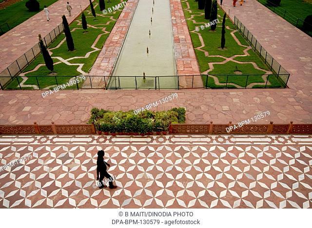 The entrance floor pattern of Taj mahal ; Agra ; Uttar Pradesh ; India
