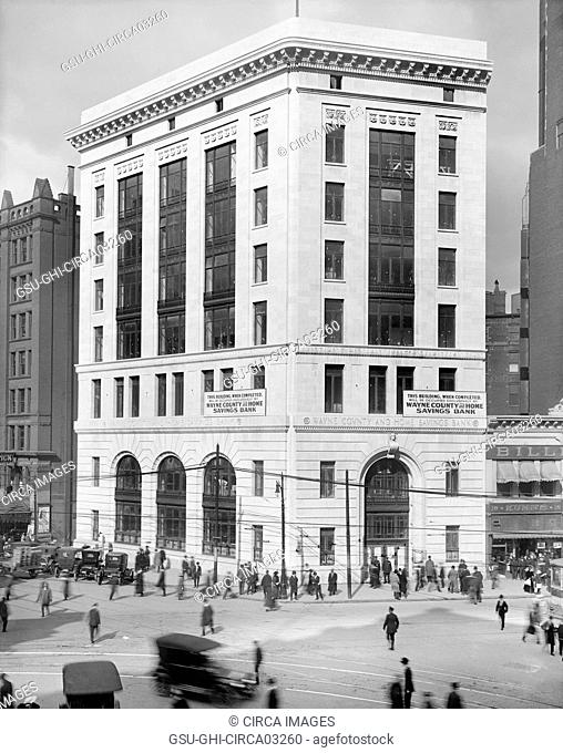 Wayne County and Home Savings Bank Building, Detroit, Michigan, Detroit Publishing Company, 1915