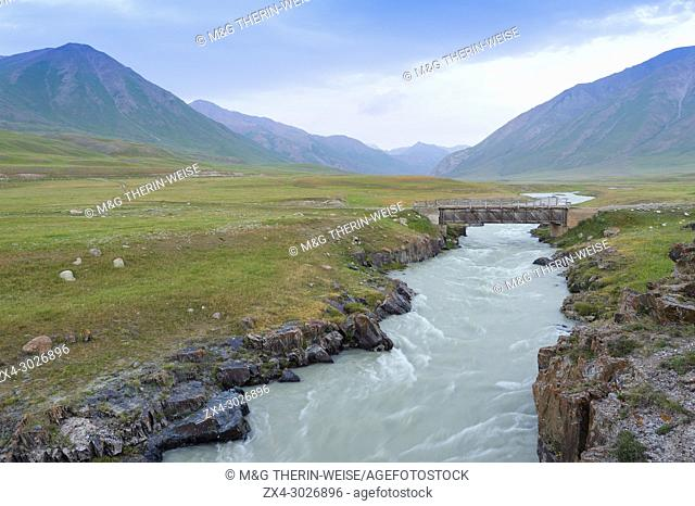 Wooden bridge over a Mountain river, Naryn gorge, Naryn Region, Kyrgyzstan