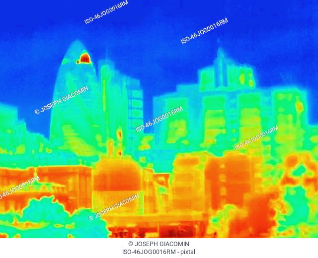Thermal image of the Gherkin in London