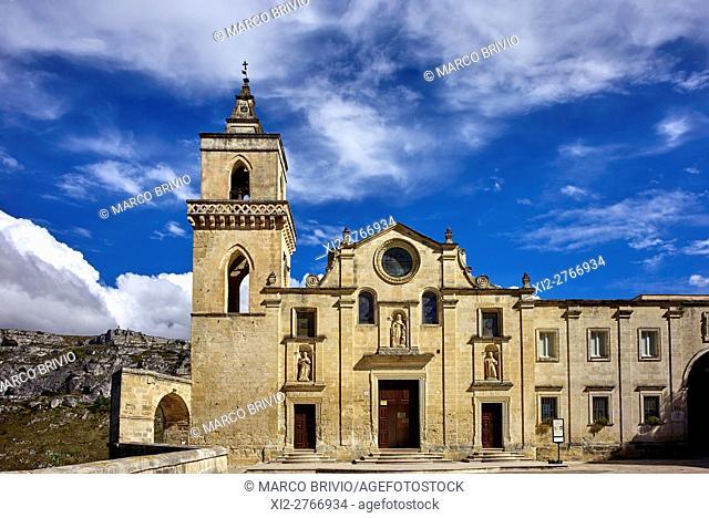 Chiesa di San Pietro Caveoso (Saint Peter Caveoso church). Matera, Basilicata, Italy. Matera is a city and a province in the region of Basilicata