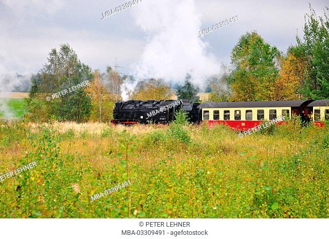 Germany, Saxony-Anhalt, east resin, Harzer light railway, lump express train, vapour train