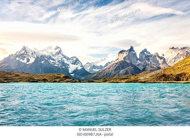 View of lake and Cuernos del Paine and Paine Grande, Torres del Paine National Park, Chile