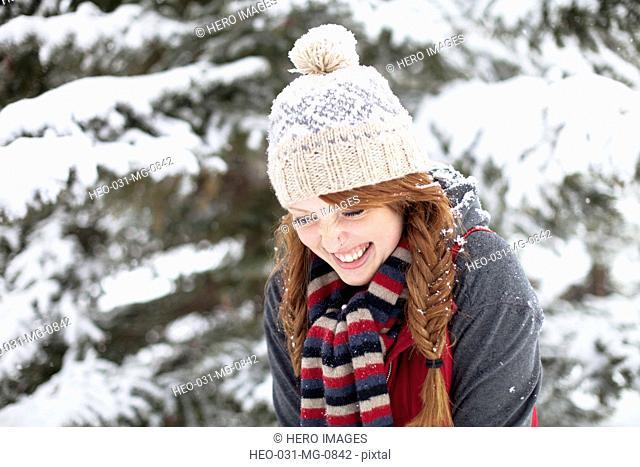 redhead woman enjoying the outdoors