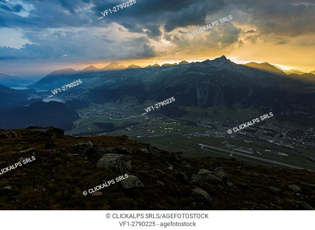 Sunset sunrays. Samedan, Engadin, Switzerland