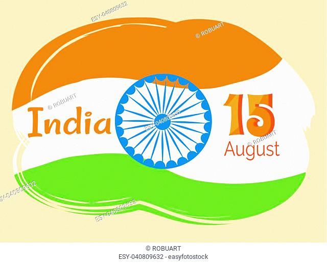India poster 15 August Indian Independence Day greeting vector poster in graphic design with colorful national flag on background, logo design