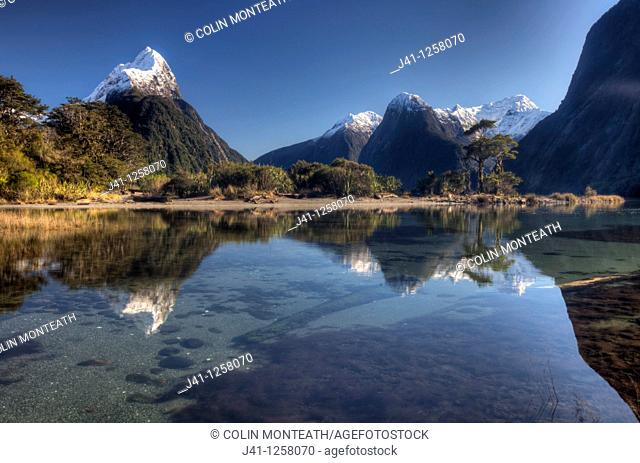 Mitre peak, winter morning, Milford Sound, Fiordland National Park