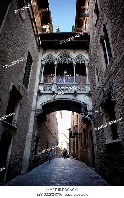 Carrer del Bisbe Street in Gothic quarter of Barcelona