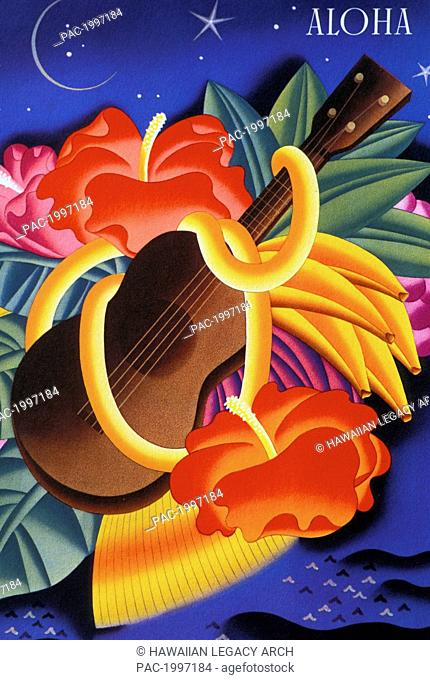Artwork of a ukulele wrapped in tropical flowers with the word Aloha