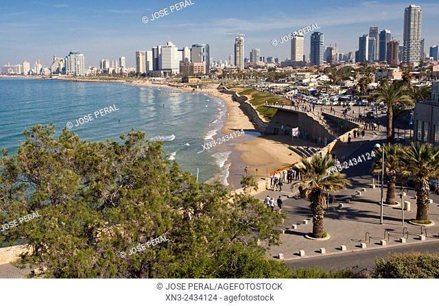 Tel Aviv view from HaPisga Garden, Jaffa, Mediterranean Sea, Tel Aviv, Israel