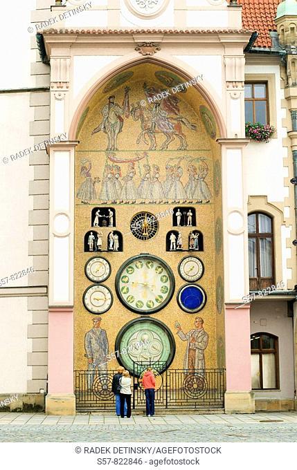 astronomical clock in communist style, Olomouc, Northern Moravia, Czech Republic