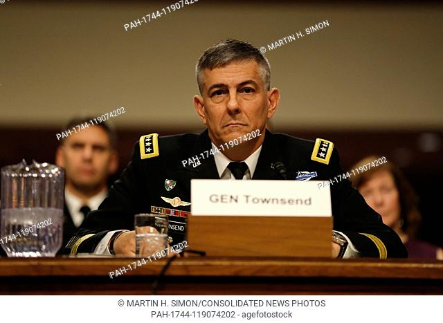 General Stephen J. Townsend, United States Army, testifies before the Senate Armed Services Committee for reappointment to the grade of general and to be...