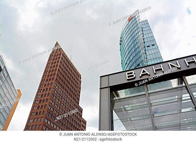 View of the Bahn Tower, the Kollhoff Tower and the DB and S-Bahn Potsdamer Platz Station. Berlin, Germany, Europe