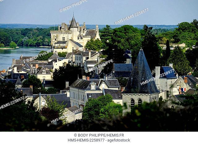 France, Maine et Loire, Loire Valley,on the World Heritage list of UNESCO, Montsoreau, castle dated 15 th century along the Loire river