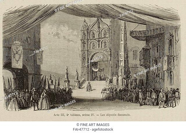 Scene from the Opera Don Carlos by Giuseppe Verdi. Paris, Théâtre de l'Opéra-Le Peletier, 11.03.1867 by Anonymous /Lithography/Book...
