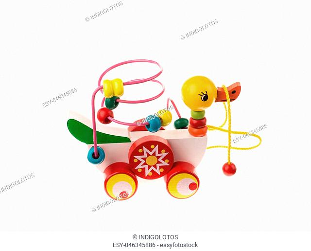 Colorful toy duck on white background isolated