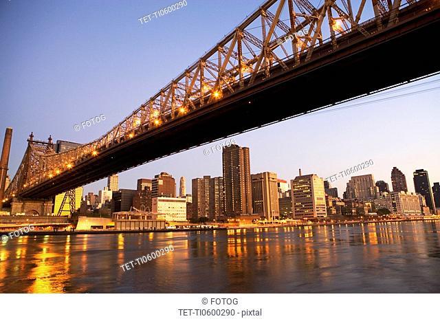 New York City skyline and bridge at night