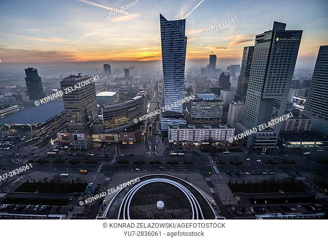 Warsaw, Poland. View with Central Railway Station, Golden Terraces shopping mall, Zlota 44 skyscraper and InterContinental