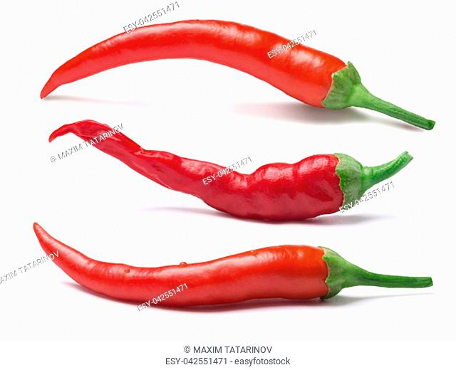 Set of ripe red hot cayenne peppers. Clipping paths, shadows separated. Design elements