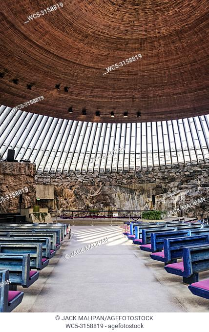 Temppeliaukio rock church famous modern architecture landmark interior in helsinki finland