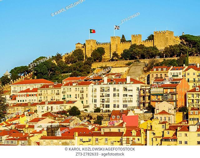 Portugal, Lisbon, Miradouro de Santa Justa, View towards the Sao Jorge Castle