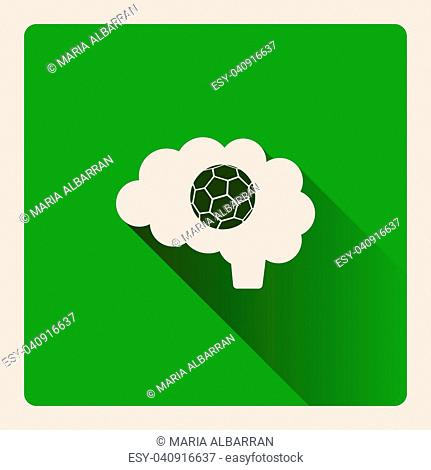 Brain thinking in the football illustration on green square background with shade