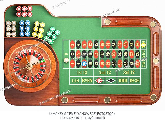 Casino roulette wheel with casino chips on green table isolated on white background. Gambling. 3d illustration